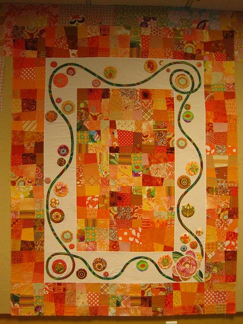 Blockwork Orange Quilt in progress…. by Robin's Bobbin on Flickr. I am not usually a fan of orange, but this quilt top is lovely. It makes me happy.