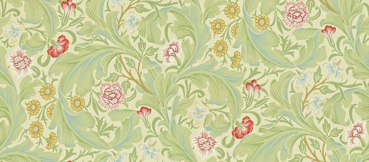 Leicester (212543) - Morris Wallpapers - A large scale1912 design, featuring scrolling acanthus leaves with an underlay of smaller flowers and foliage. Shown in the soft green with multicoloured flowers colourway.  Please request sample for true colour match.