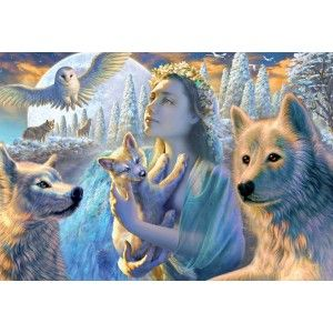 """Spirit Of The Mountains"" features a young woman, the personification of the forest, holding a wolf cub in her arms. She has a floral crown on her head and her dark blond hair flows on her back. Wolves painted in white, light blue and cream protectively surround her. Artist: Adrian Chesterman. Finished puzzle 26.75""x19"". Educa puzzles are known around the world for their quality standards, using green & blue boards which create exact piece fits and greatly reduces puzzle dust. As well, every…"