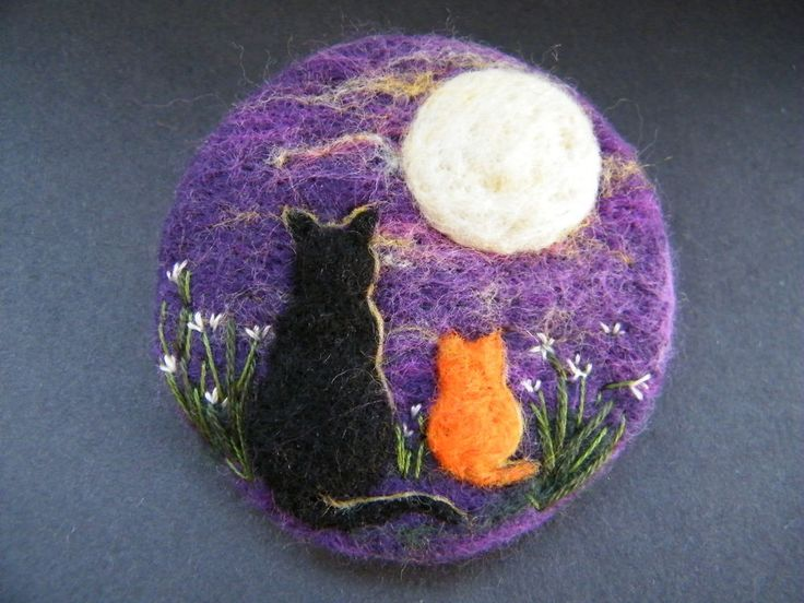 textile art jewellery gothic , pagan wicca , halloween design style Handmade needle felted brooch    Hatty, Ginger and the Moon      by Tracey Dunn