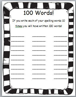 Classroom Freebies Too: 100s Day Spelling Freebie