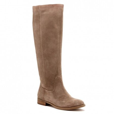 Women's Taupe Suede 1 Inch Slouchy Tall Suede Boot | Kellini by Sole Society