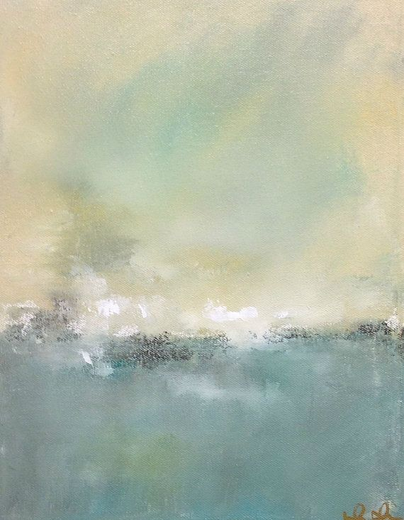 Grey Blue Abstract Seascape Painting Original Art  by lindadonohue, $145.00