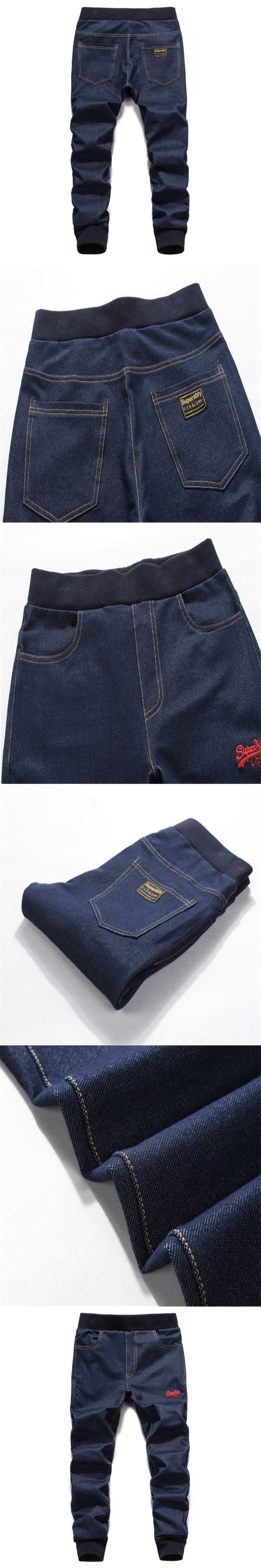 2017  Street Fashion Men Jeans Dark Blue Color Slim Leg Open Stretch Pants High Quality Jogger Jeans Men Youth Wear
