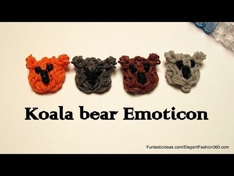 Rainbow Loom Koala Bear Emoticon/Emoji charm - How to