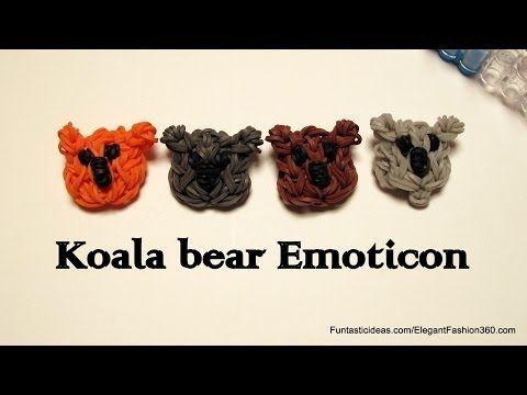 Rainbow Loom Koala Bear Emoticon/Emoji charm - How to