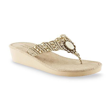 Tropical Escape Women's Kauai Tan Beaded Wedge Sandal