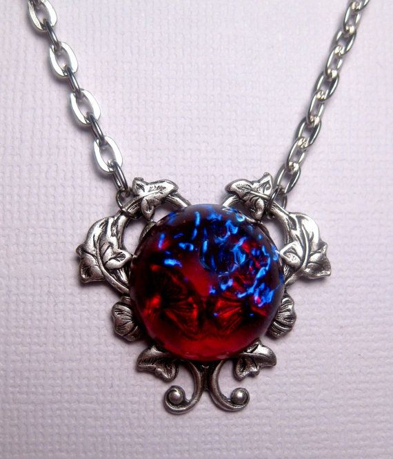 Dragon's Breath Mexican Opal Heart Necklace by FashionCrashJewelry