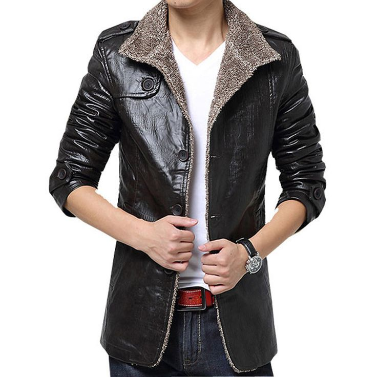 Hot sale free shipping men winter leather fur thickening jacket coat outwear thickening overcoat 2 colors L XL XXL 3XL 4XL
