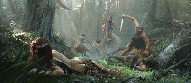 Theseus killing Eurytus the centaur by Jose Daniel Cabrera Peña   Illustration   2D   CGSociety