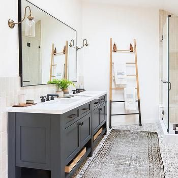Dark Gray Dual Bath Vanity with Brass and Glass Sconces