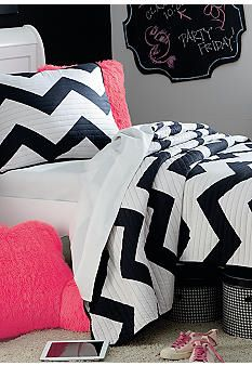 Black and pink chevron bedding