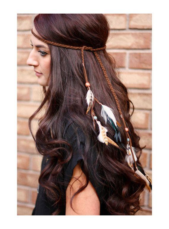 Feather Headband: indian headdress native american headband, hippie boho tribal jewelry braided indian hair jewelry hair feathers extensions