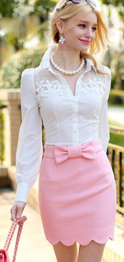 Pink Scallop Hem Bowed Skirt Fall Inspo                                                                             Source