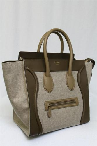 New Sold Out Tricolor Khaki Celine Mini Luggage Linen Leather Tote ...