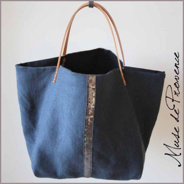 sac cabas en lin bleu et sequins fait main 1