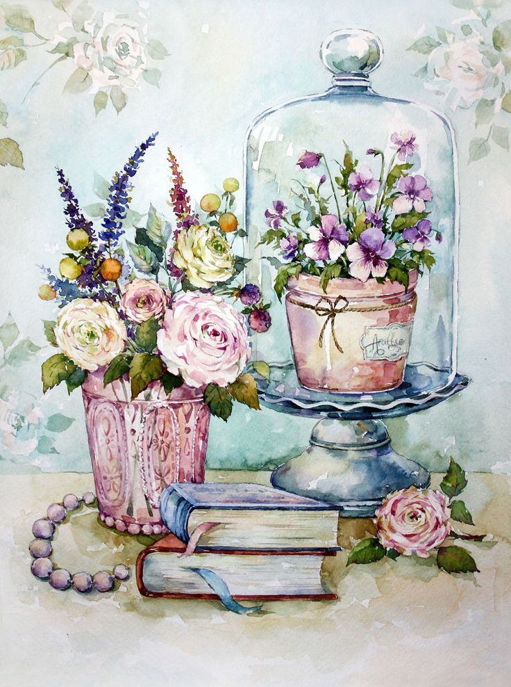 букеты цветов нежные рисунки улететь вниз