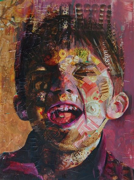 Jeff Huntington - Magazine Collage and painting - Bliss
