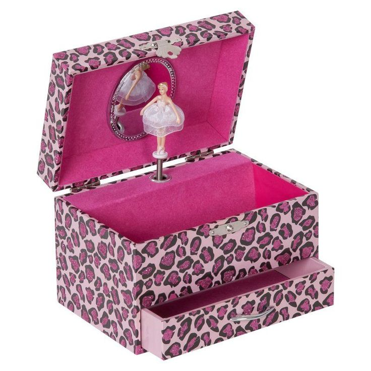Mele & Co. Josie Girl's Musical Ballerina Jewelry Box with Leopard Design - 6W x 4H in. - 00608S15