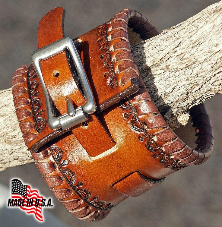 Cowboy Cuff Wide Handmade Leather Kangaroo by rockcreekstation