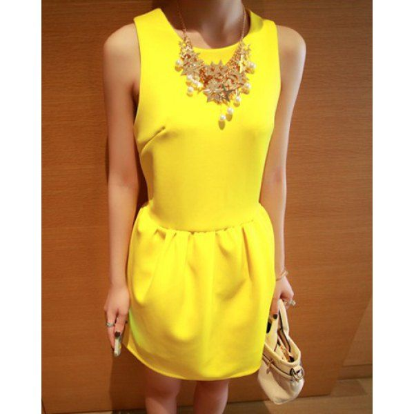 Solid Color Jewel Neck Sleeveless Slimming Simple Style Women's Sundress, YELLOW, ONE SIZE in Dresses 2014 | DressLily.com
