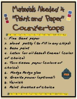 Paper and Modge Podge countertops :0Diy Ideas, Kitchens Remodeling, Diy Kitchens, Easy, Inexpenive Diy, Diy Furniture, Kitchens Diy, Kitchens Countertops, Inexpensive Diy