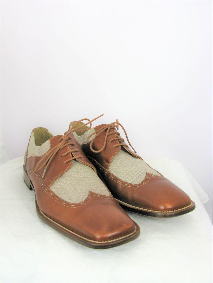 Paolo De Marco Canvas & Leather Wingtip Spectator Lace-up Shoes 13