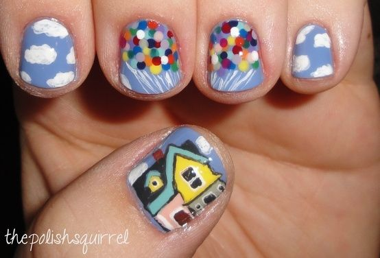 Disney's UP! inspired nails | Disney Nails | Disney Nail Art | Disney Nail Designs | Disney Nails DIY | Disney Nail Ideas |