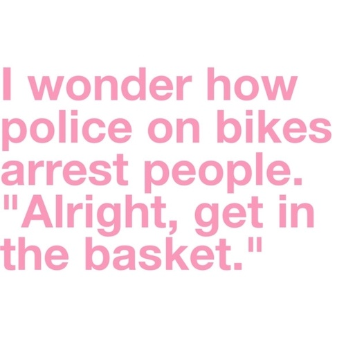 Get in the basket.: Funny Image, Bike, Quotes, Police, Funny But True, Funny Stuff, Baskets, So Funny, Jeff Dunham