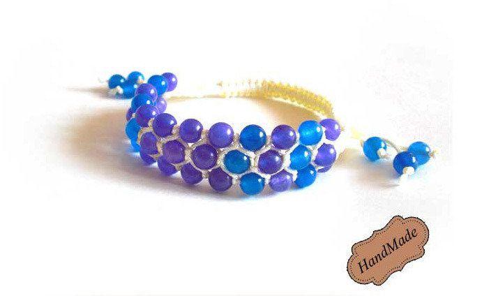Bracciale braccialetto blu e viola intreccio shamballa donna Artigianale!, by mosquitonero shop, 4,50  su misshobby.com