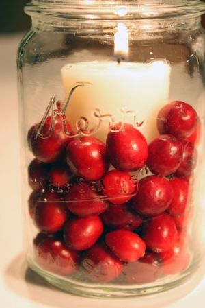 LOVE! Cranberries in a mason jar with candle!