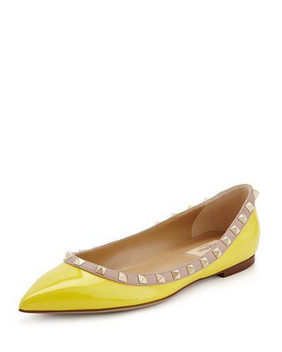 X2F2J Valentino Rockstud Trim Patent Ballerina Flat, Yellow/Poudre