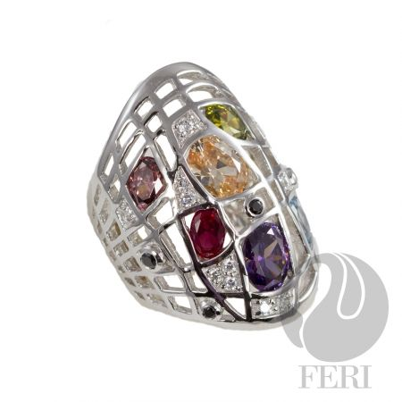 Rain & Shine - Ring - Exclusive 950 fine sterling silver  - Exclusive dual natural rhodium and palladium plating   - Set with AAA white cubic zirconia and highlighted in multi-colored AAA cubic zirconia https://www.globalwealthtrade.com/vdm/display_item.php?referral=stephjames&category=66&item=5210&cntylng=&page=1