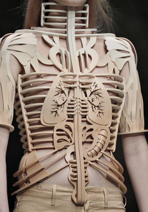 Conceptual Fashion - anatomy bodice; fashion armour; wearable art; sculptural fashion // Manish Arora S/S 2012