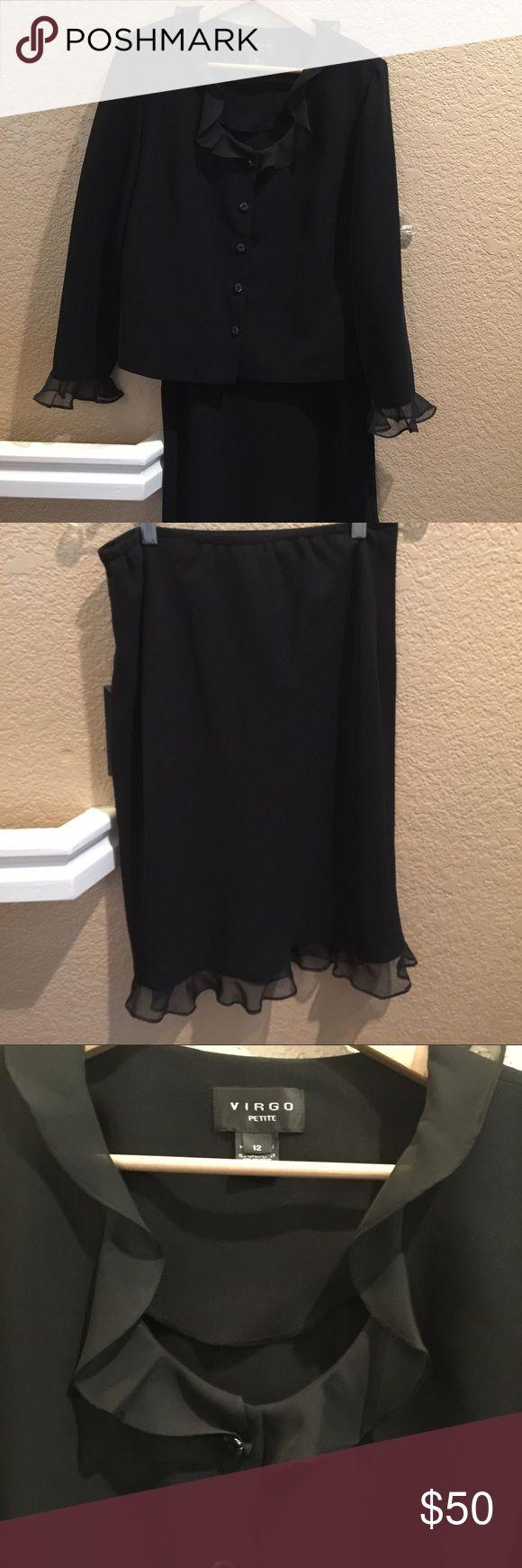 Black Ruffle Suit with Ruffle Skirt Vergo black Ruffle suit with skirt size 12. NWOT vergo Other