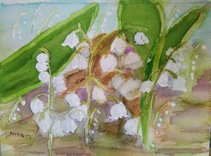 konvalinky - akvarel