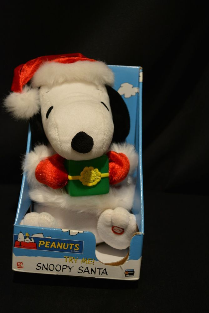 Santa Snoopy Animated Plays Peanuts Theme Song Christmas Charlie Brown NIB #Gemmy