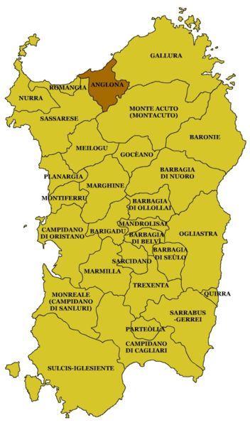 Carta geografica della Sardegna. Evidenziata la regione storica dell'Anglona.