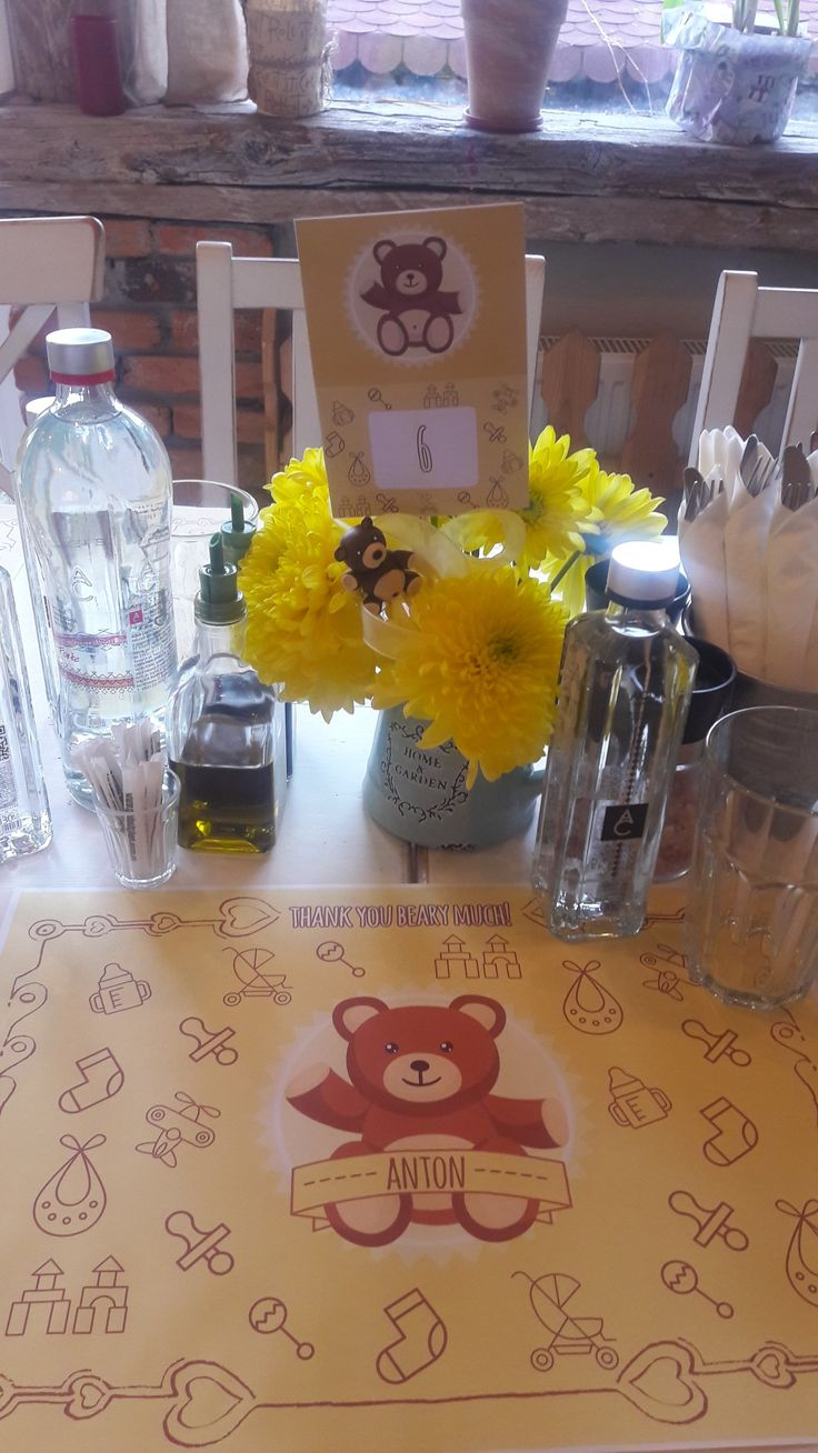 Bear paper print. Table print. Bear quotes. Bear  prints. Bears and flowers decorations. Bear theme. Baby boy. Alina Ariton event planner.