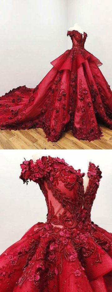 Incredibly 2018 Chic Ball Gowns Prom Dresses Red Off-the-Shoulder Long Prom Dress Evening D…