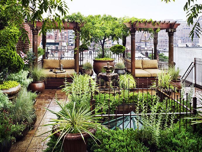 """The Boho-Chic Roof Garden of interior designer Thomas Hays is a great example of the"""" Outdoor Room"""" concept. Many times a landscape architect will describe a plan as having outdoor rooms, not only to create intimate areas within a larger site, but to also to create a sense of security and privacy not available in a large open area. Depending on the placement of the """"room"""" within to overall plot, a sense of mystery and curiosity can also be established."""