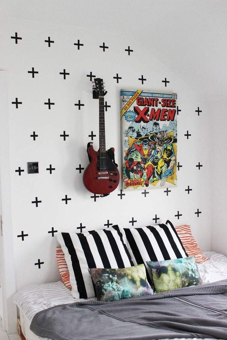 décoration murale pour la chambre ado- plus noirs en masking tape