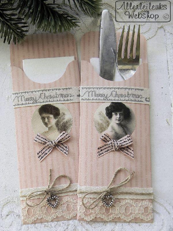 INSPIRATIE VOORBEELD Nostalgische kraft kerst bestekzakjes