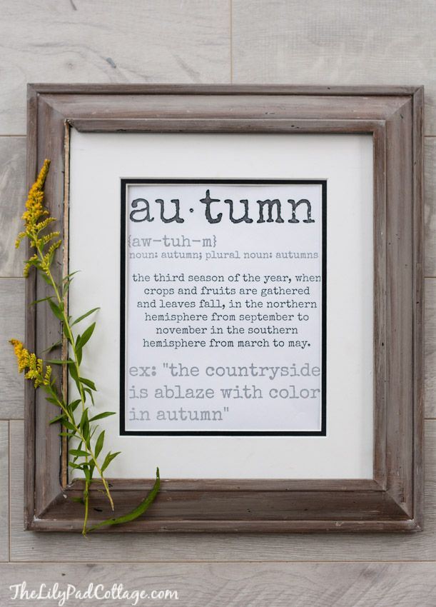 Free Fall printable....autumn definition