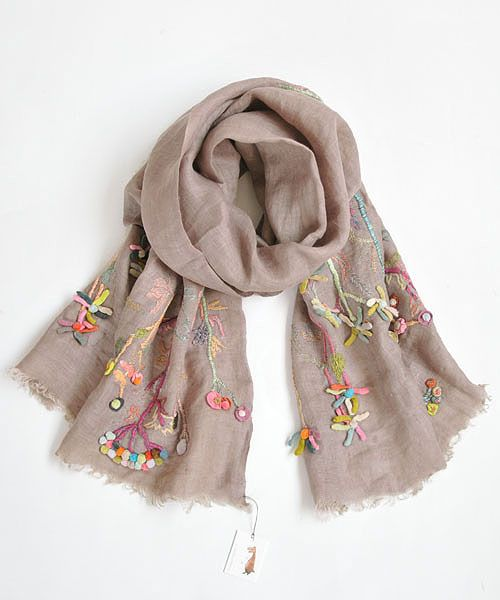 ♒ Enchanting Embroidery ♒ embroidered linen scarf - Sophie Digard
