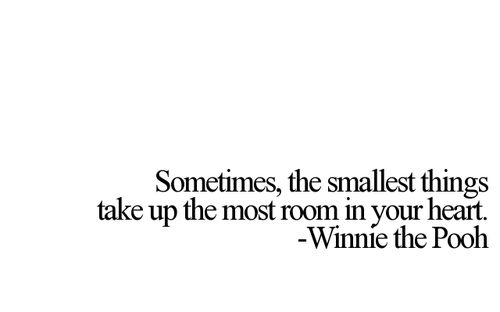 Sometimes, the smallest things take up the most room in your heart. —Winnie the Pooh