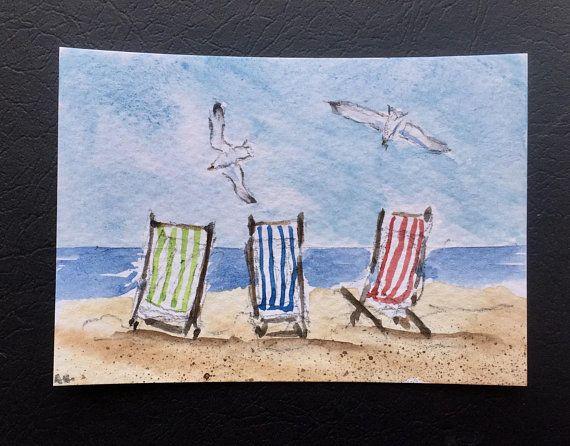 Seascape Original Miniature Watercolour Painting Aceo Beach