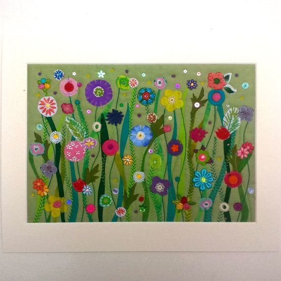 Flower Garden  Original Textile Artwork  Art by madebylisajane