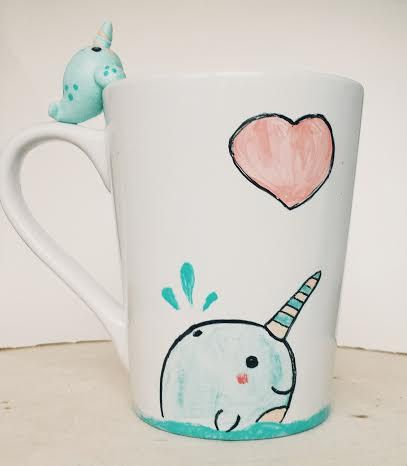 Kawaii Narwhal Polymer Clay and Hand Painted Mug by WarmthToMySoul on Etsy https://www.etsy.com/listing/218541144/kawaii-narwhal-polymer-clay-and-hand