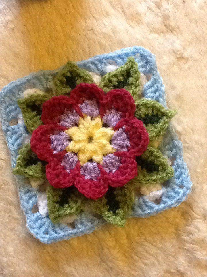 Crochet water lily square crochet mood blanket 2014